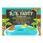 Fun Dinosaur Pool Party Invitation - Birthday Party -