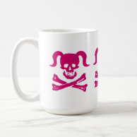 Dirty Girly Mug - Pink Skull on white on Zazzle