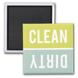 Dishwasher Magnet CLEAN   DIRTY - Green Blue