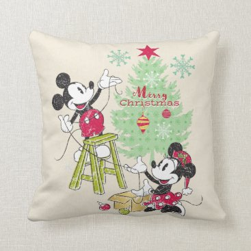 Disney | Mickey & Minnie | Classic Christmas Tree Throw Pillow