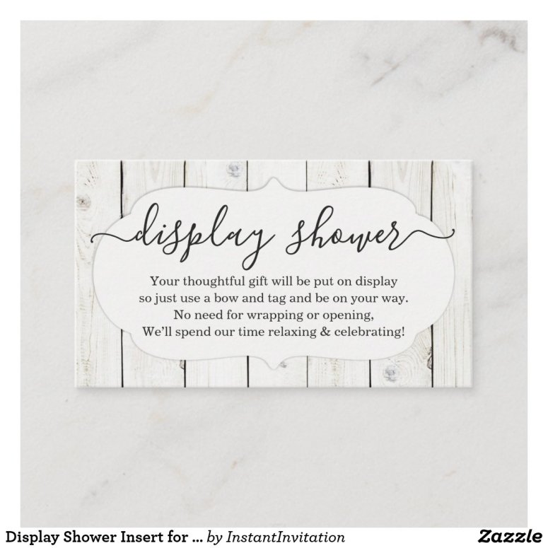 Display Shower Insert for Invitation - Rustic
