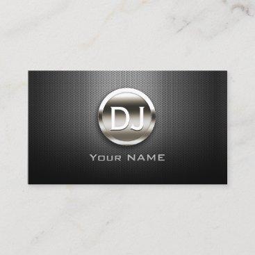 DJ Deejay Steel Monogram Modern Metal Business Card