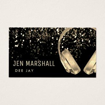 DJ faux gold foil music headphones Business Card