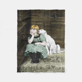 Dog Adoring Girl Fleece Blanket