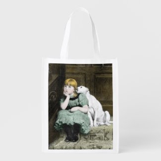 Dog Adoring Girl Grocery Bag