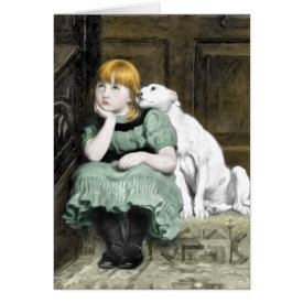 Dog Adoring Girl Victorian Painting Card