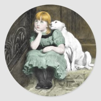 Dog Adoring Girl Victorian Painting Classic Round Sticker
