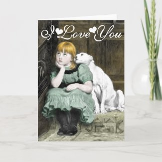 Dog Adoring Girl Victorian Painting I Love You Card