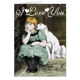 Dog Adoring Girl Victorian Painting I Love You Greeting Card