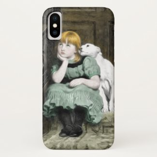 Dog Adoring Girl Victorian Painting iPhone X Case