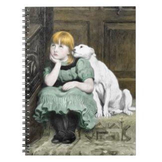 Dog Adoring Girl Victorian Painting Spiral Notebook