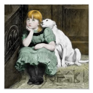 Dog Adoring Girl Victorian Painting Posters