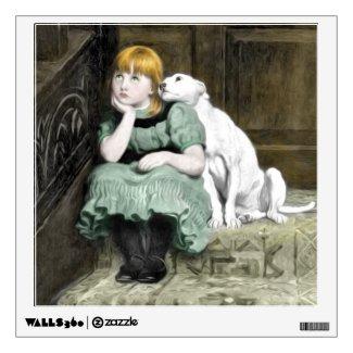 Dog Adoring Girl Victorian Painting Wall Graphics
