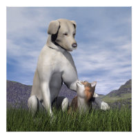 Dog and cat friendship poster