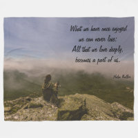 Dog and Woman on a Rocky Bluff Fleece Blanket