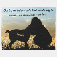 Dog and Woman Sunset Silhouette Fleece Blanket