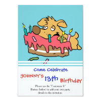 Dog eating birthday cake card