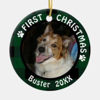 Dog First Christmas 2-Photo Green & Black Plaid Ceramic Ornament