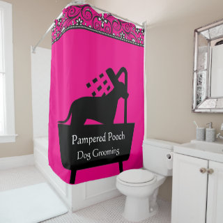 dog grooming shower curtain customizable color