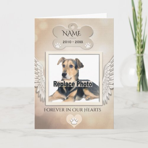 Dog Memorial with Rainbow Bridge Poem Card
