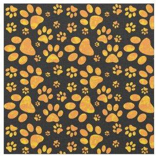 Dog Paw Print Pattern | Orange Fabric