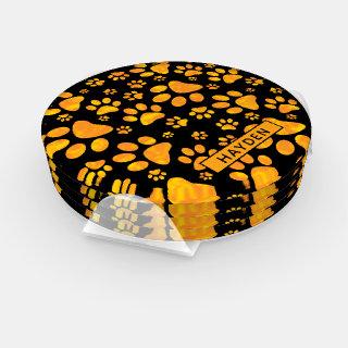 Dog Paw Print Pattern Orange Yellow Monogram Coaster Set
