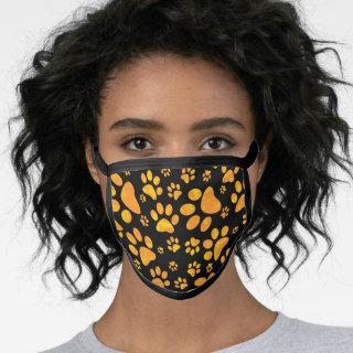Dog Paw Prints Orange Fashionable Face Mask