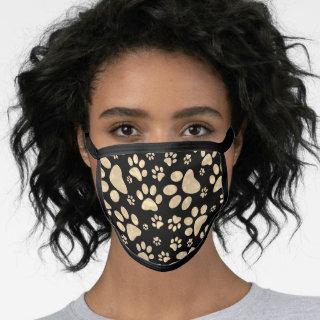 Dog Paw Prints Sepia stylish Face Mask