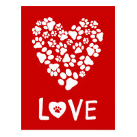 Dog Paw Prints Valentine Love Heart Postcard