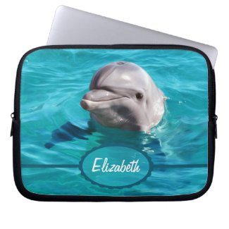 Dolphin in Blue Water Photo Computer Sleeve