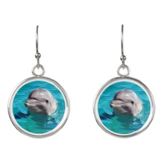 Dolphin in Blue Water Photo Earrings