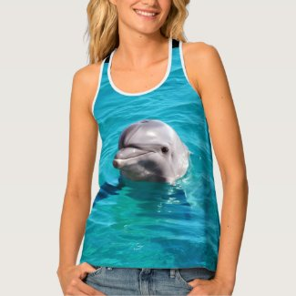 Dolphin in Blue Water Photo Tank Top