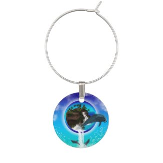 Dolphin jumping wine glass charms