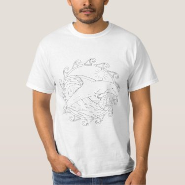 Dolphin Maori Sun Adult Coloring Shirt