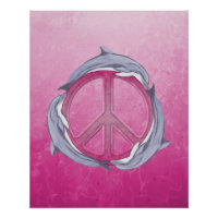 Dolphin Peace Pink Poster