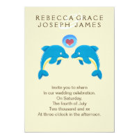 Dolphins And Love Heart Bubble Wedding Card