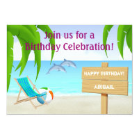 Dolphins Beach Birthday Party Invitation for Girls