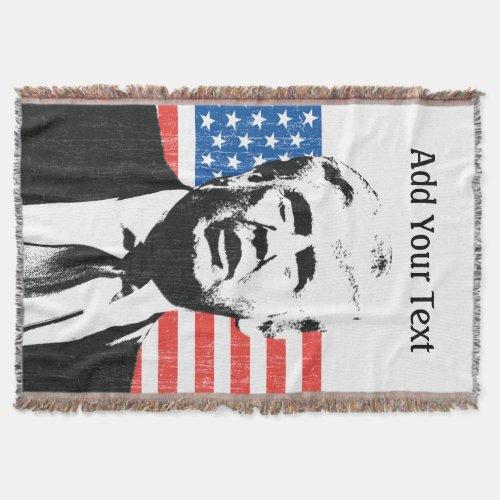 Donald Trump American Flag Custom Text Throw Blanket