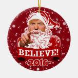 Donald Trump Christmas Believe Ceramic Ornament