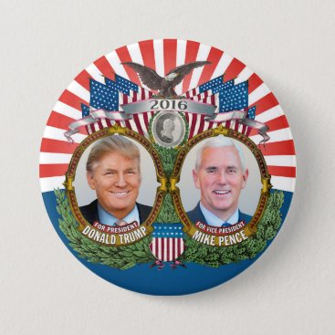 Donald Trump & Mike Pence Jugate Photo Red Blue Button