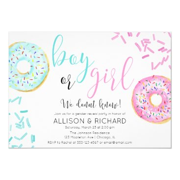Donut gender reveal party invitation