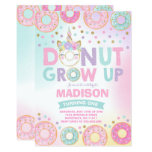 ❤️ Donut Grow Up Birthday Invitation Donut & Unicorn