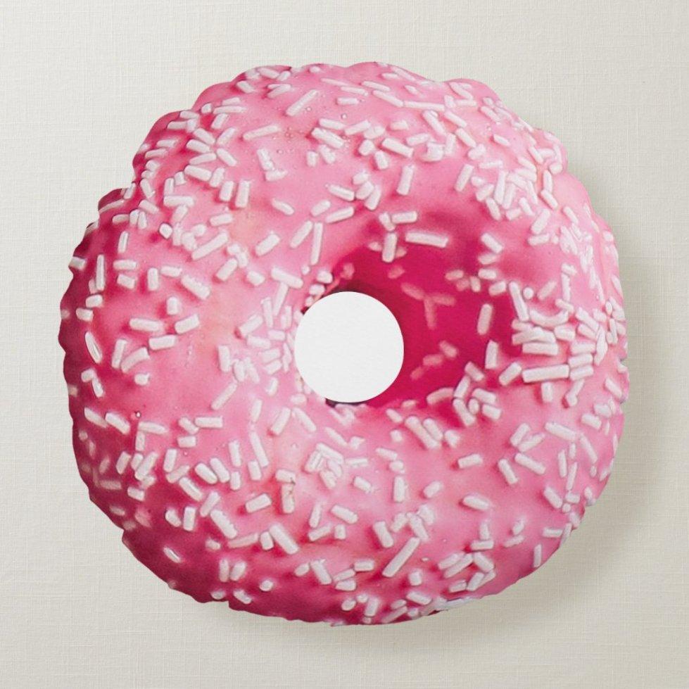 Donut Pink White Sprinkled Round Pillow