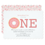 Donut Simple Pink Girl 1st Birthday Invitation