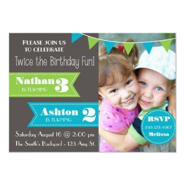 Double Birthday Party Invite (Boy/Boy)