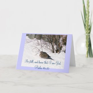 Dove in the Snow Scripture Card card