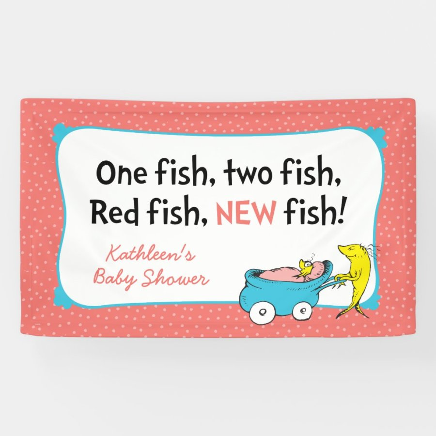 Dr. Seuss   One Fish - Girl Baby Shower Banner