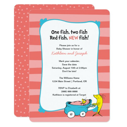 Dr Seuss One Fish Baby Shower Invitation