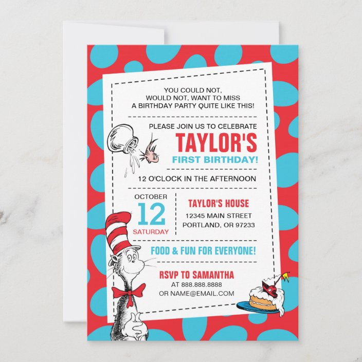 dr seuss the cat in the hat birthday invitation zazzle com