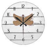 Dragonfly Rustic Shiplap Farmhouse Decor Large Clock